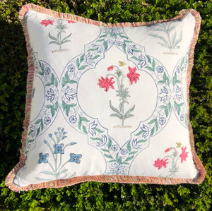 Block Print Pillow - Ivory with Pink and Blue Floral
