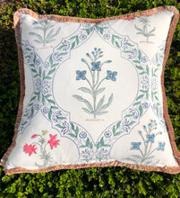 Load image into Gallery viewer, Block Print Pillow - Ivory with Pink and Blue Floral