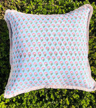 Load image into Gallery viewer, Block Print Pillow - Blue and Pink Floral