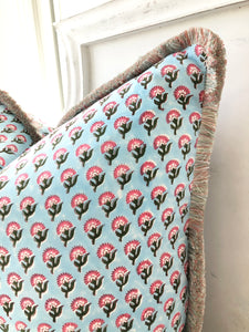 Block Print Pillow - Blue and Pink Floral