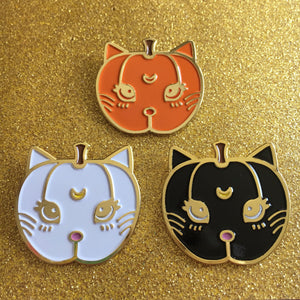 Pumpkin Kitty Sailormoon Luna + Artemis Enamel Pins