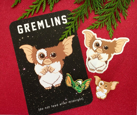 Gremlins Gift Set - 2 enamel pins, 1 Magnet, 1 print/ postcard and 1 vinyl sticker