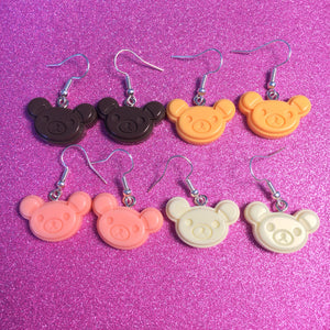 Rikuma Bear Handmade Acrylic Earrings or Rilakkuma Necklace