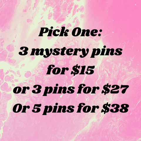 Pick One: 3 Mystery Pins 15 or 3 Pins for for 27 or 5 Pins for 38 Pin Bundle Deal