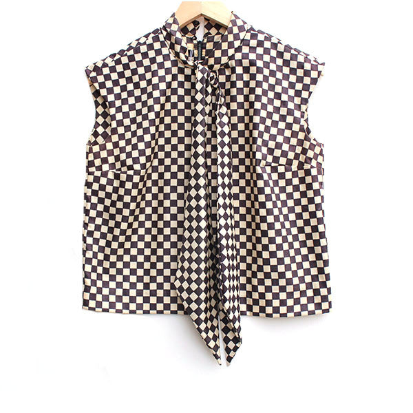 Checkerboard Secretary Blouse S/M