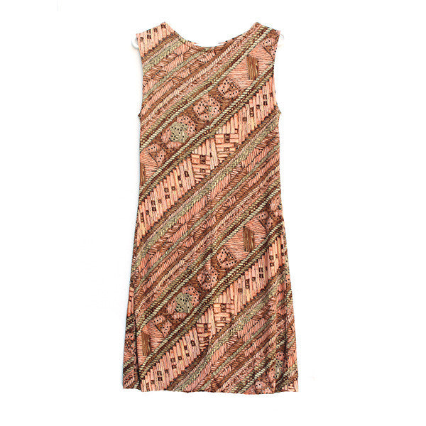 Basket Weave Print Dress M-L