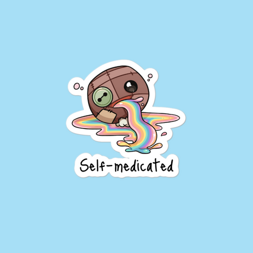 """Self-Medicated"" sticker - Wazig™ Kledij"