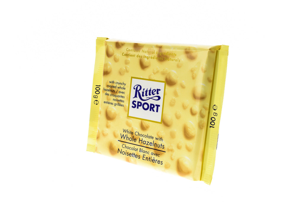RITTER SPORT NS White Choc. w/Whole Hazelnuts
