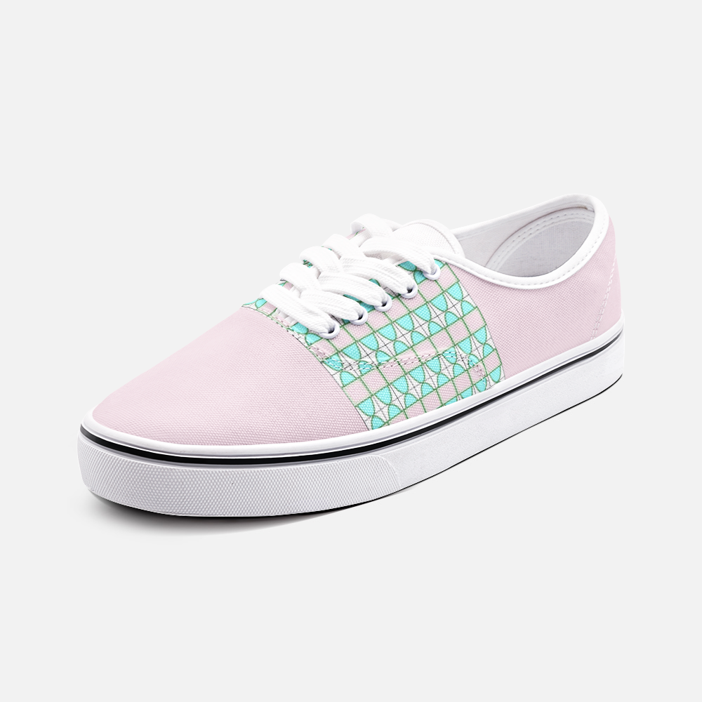 Pink Rahi Pattern - Unisex Canvas Shoes Fashion Low Cut Loafer Sneakers