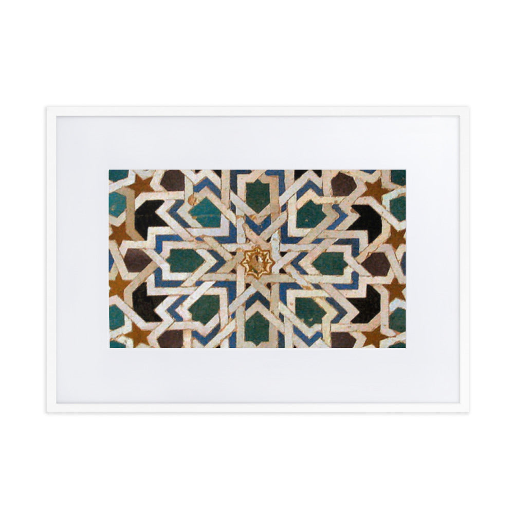 Matte Paper Framed Poster With Islamic Geometric Design