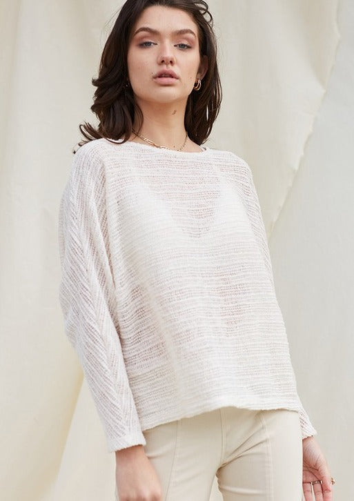 Loose Knit Boat Neck Top