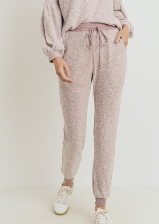Contrast Brushed Jogger-Blush