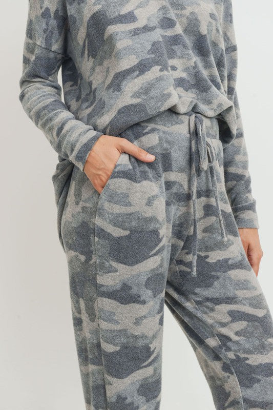 Camo Brushed Joggers Grey