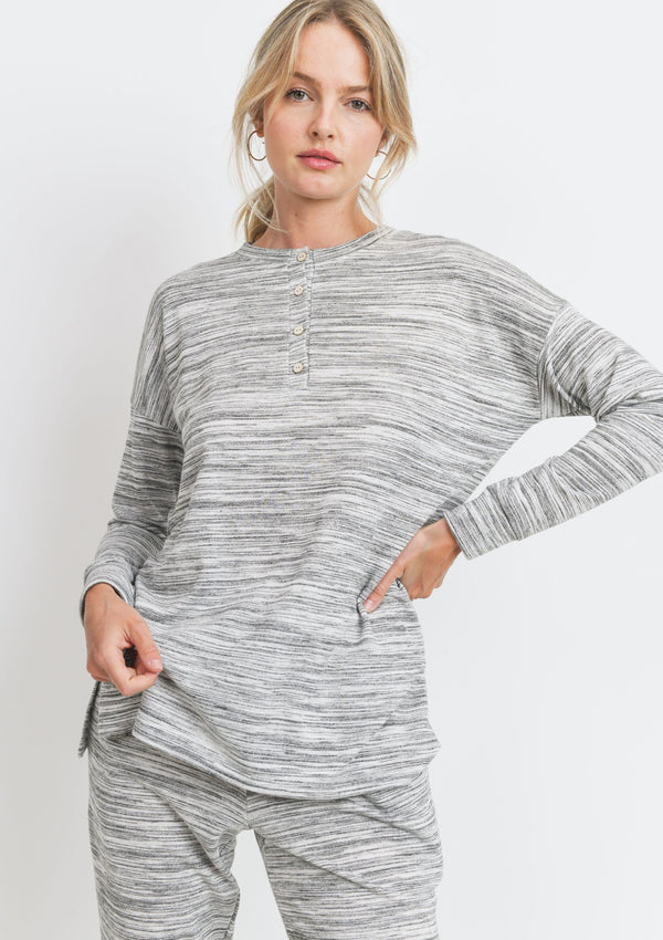 Marbled Henley Top