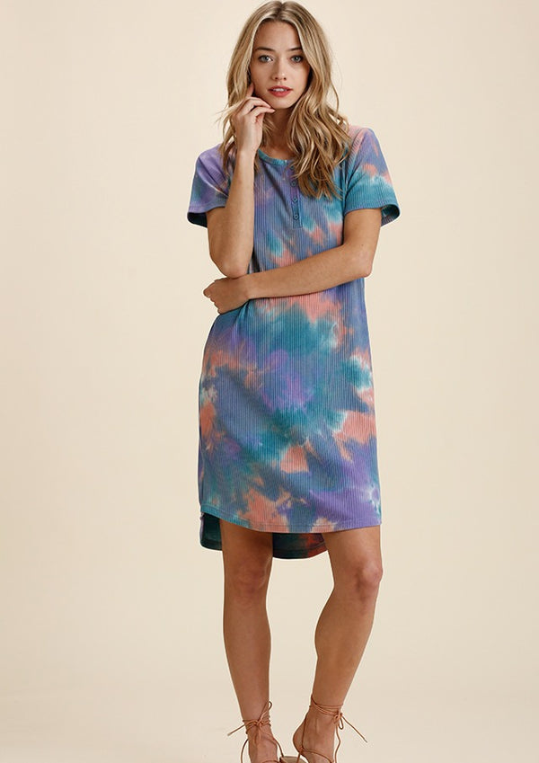 Tie Dye Ribbed Dress