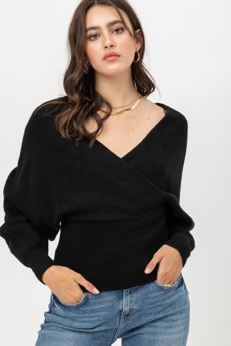 Black Wrap Sweater