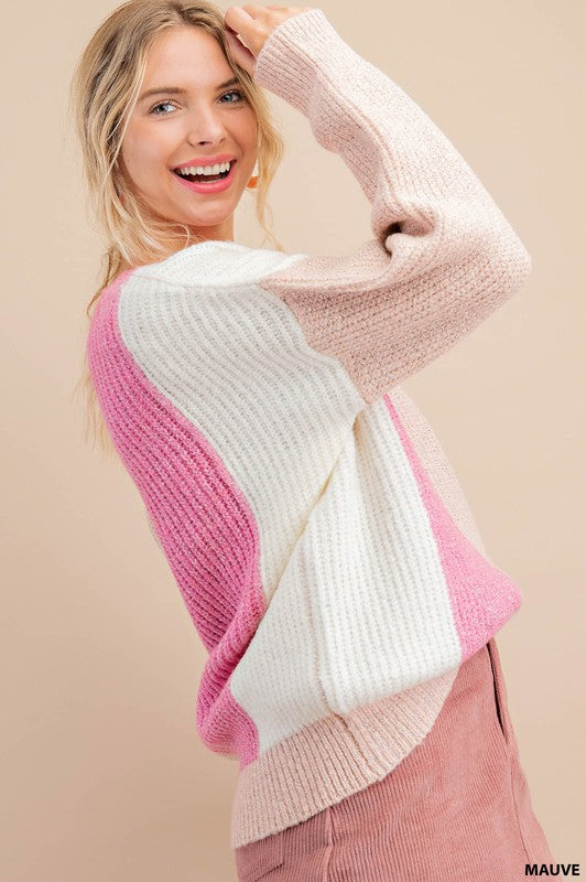 Shades of Pink Colorblock Sweater