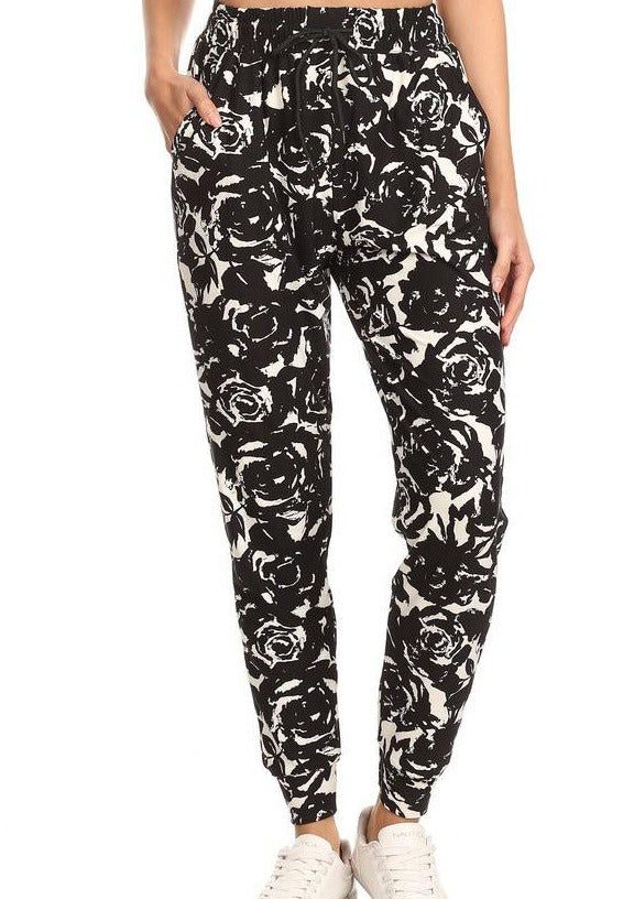 Butter Soft Joggers - Black Floral