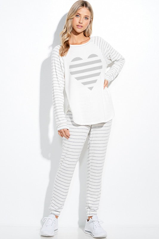 Striped Heart Set - Long Sleeve Top