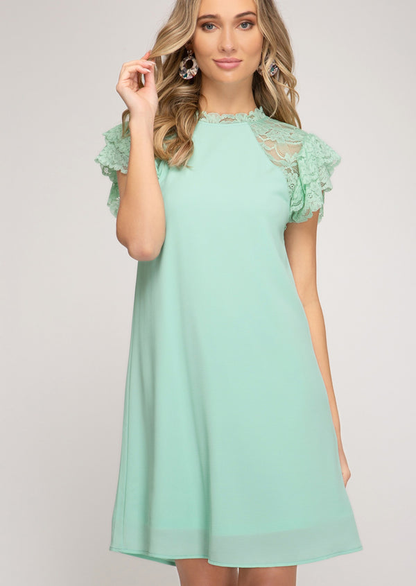 Lace Sleeve Dress - Mint