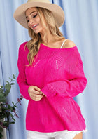 Hot Pink Pointelle Sweater