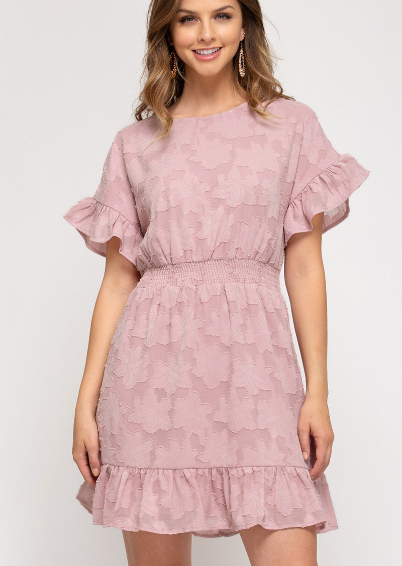 Ruffle Sleeve Rose Dress
