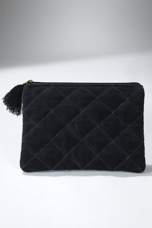 Quilted Velvet Pouch