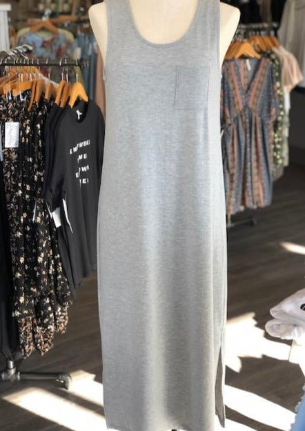 Ribbed Maxi Tank Dress-Grey
