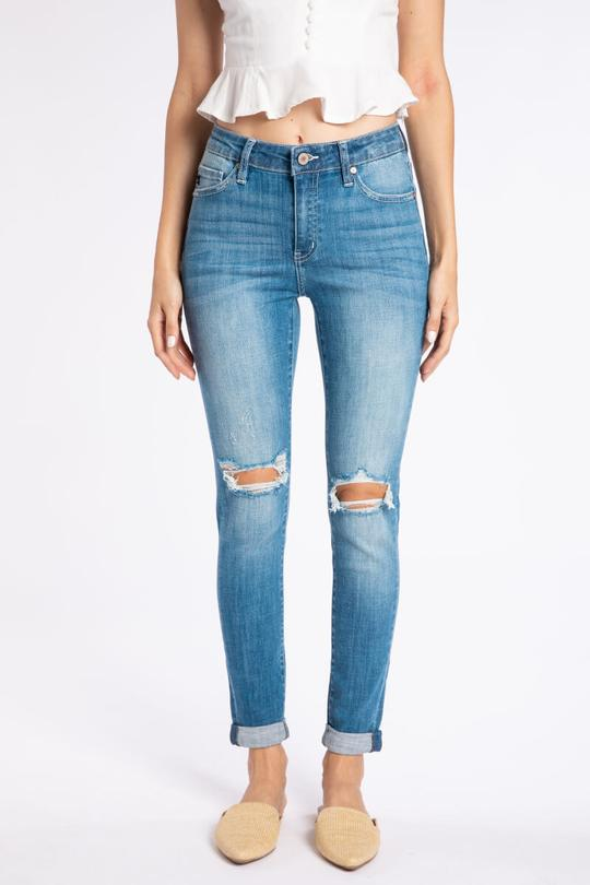 High Rise Double Cuff Ankle Skinny