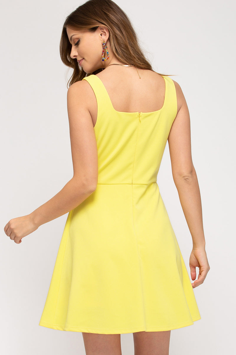 Solid Fit and Flare - Yellow