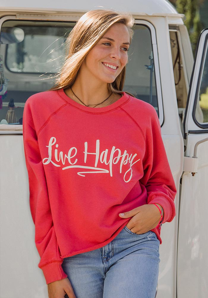 Live Happy-cropped sweatshirt