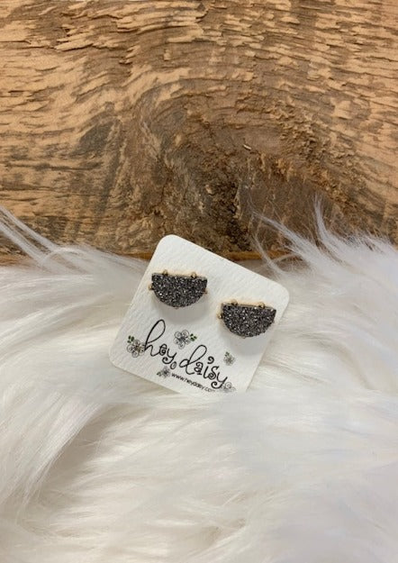 Wedge Druzy Stud Earring-Hematite