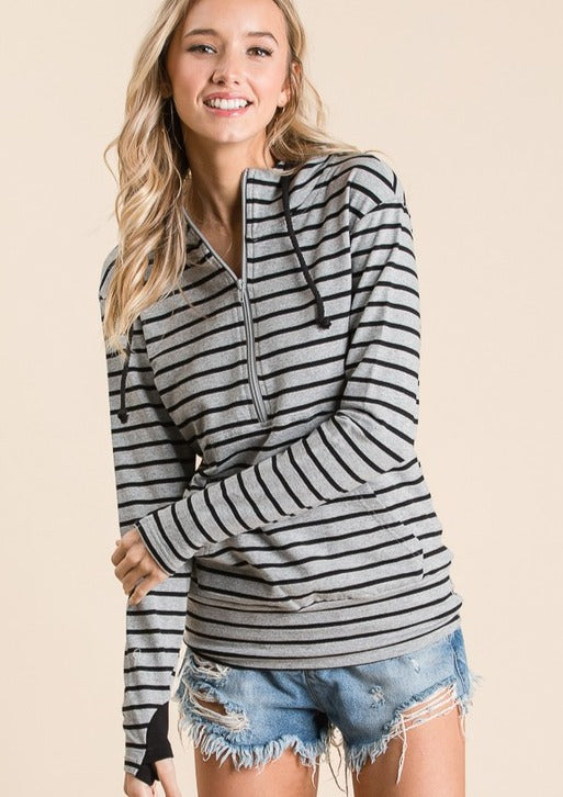 Grey/Black Striped Hoodie