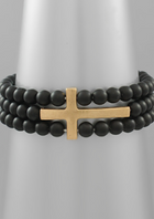 Cross & Stone Ball Bracelet - Two colors
