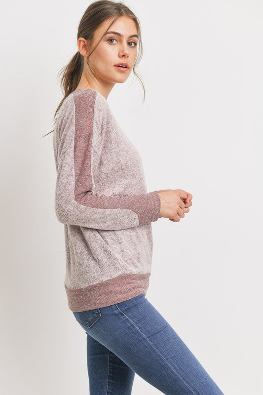 Contrast Sleeve Brushed Top-Blush