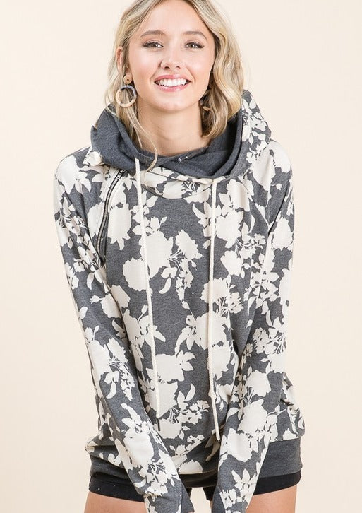 Double Hood-Grey Floral