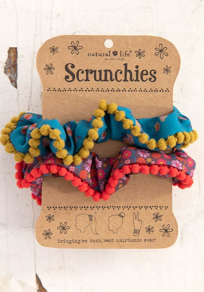 Pompon Scrunchie Set-Multi