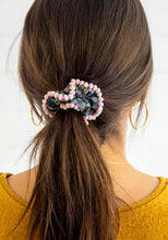 Load image into Gallery viewer, Pompon Scrunchie Set-Blue Ditsy Sage