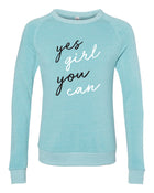 Yes Girl - Aqua Crewneck
