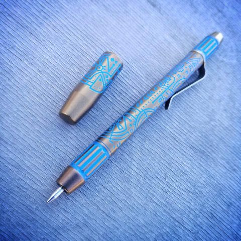 Techliner Fluted Shorty -- Lazar Etch Titanium (Blue/Bronze)