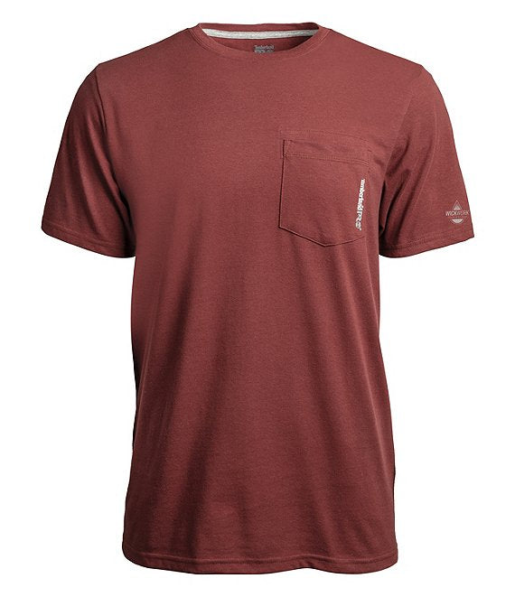 Timberland Pro Base Plate Blended Short Sleeve T-Shirt - Maroon