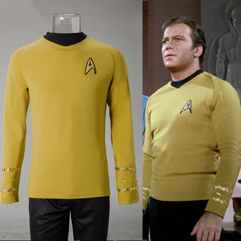 Cosplay Star Trek TOS The Original Series Kirk Shirt Uniform Costume Halloween Yellow Costume - BFJ Cosmart
