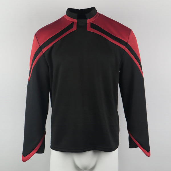 Star Trek Admiral JL Picard Uniform Male Red Top Shirt Cosplay Costume