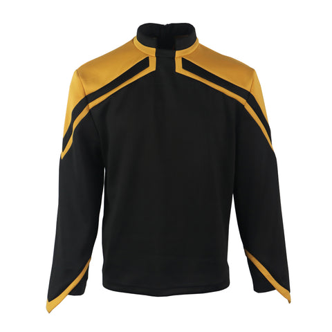 Star Trek Admiral JL Picard Uniform Male Yellow Top Shirt Cosplay Costume