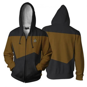 Star Trek TNG The Next Generation Red Glod Blue Hoodie Male Cosplay Costume