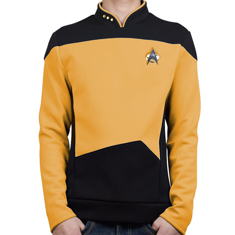 Star Trek TNG The Next Generation Yellow Shirt Uniform Cosplay Costume