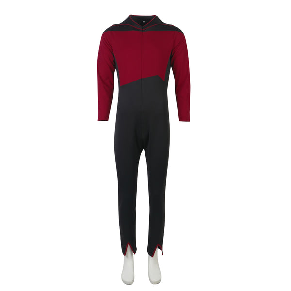 Star Trek The Next Generation Jean-Luc Picard Red Jumpsuit Cosplay Costume flying suit