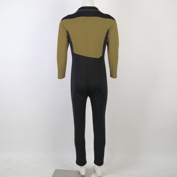 Star Trek The Next Generation Jean-Luc Picard Yellow Jumpsuit Cosplay Costume flying suit