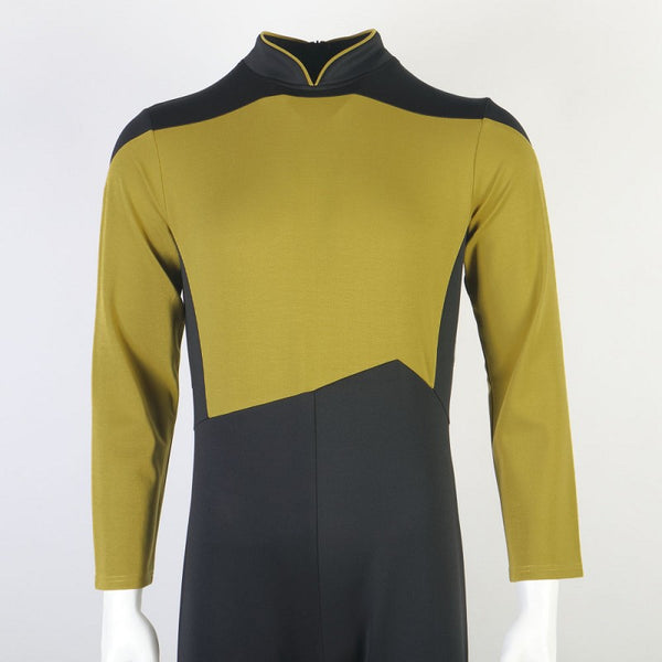 Star Trek The Next Generation Picard Yellow Jumpsuit Cosplay Costume