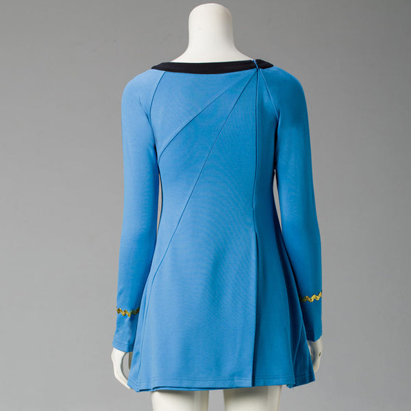 Star Trek Female Duty Uniform Blue Dress Cosplay Costumes